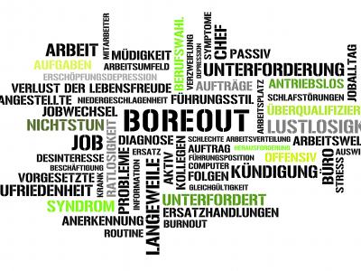 """Der Begriff """"Boreout"""" stammt vom englischen Wort """"Boredom"""" (Langeweile) und wird auch als Zustand ausgesprochener oder dauerhafter Unterforderung im Arbeitsleben bezeichnet"""